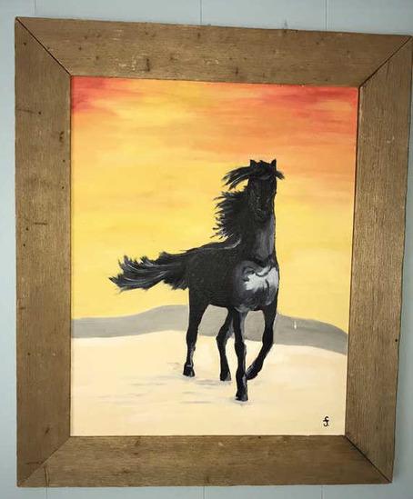 """Framed Oil Painting—Horse—21 1/2"""" x 25 1/2"""""""