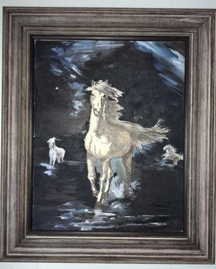 """Framed Oil Painting--Horse--22"""" x 26"""" Framed"""