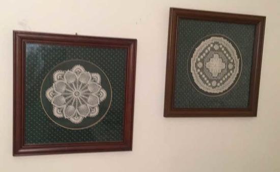 (2) Framed & Matted Hand-Crocheted Doilies--