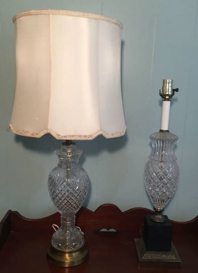 """(2) Crystal Table Lamps--31"""" to Top of Finial &"""