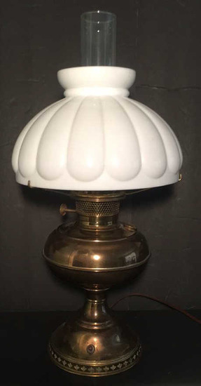 Vintage Brass Table Lamp with Milk Glass Shade--