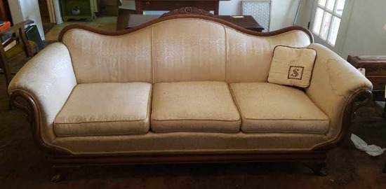 Vintage Sofa with Carved Gooseneck/Swan Arms