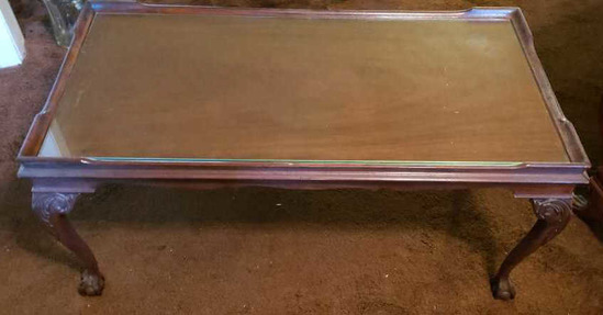 Coffee Table w/Glass Insert, Carved Cabriole