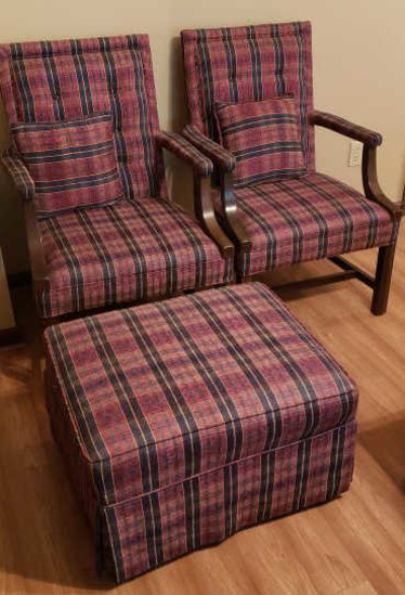 (2) Chippendale-Style Upholstered Chairs