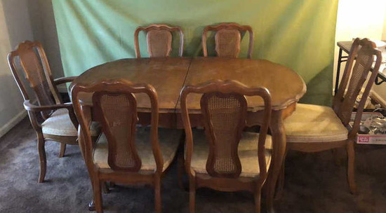 French Provencial-Style Dining Table & 6 Chairs