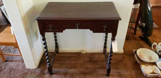 "Table w/ Barley Twist Legs & 3 Drawers 28"" x 17"""
