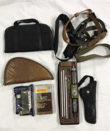 Gun Cleaning Kit, Knife Sharpening Kit, (2) Pistol