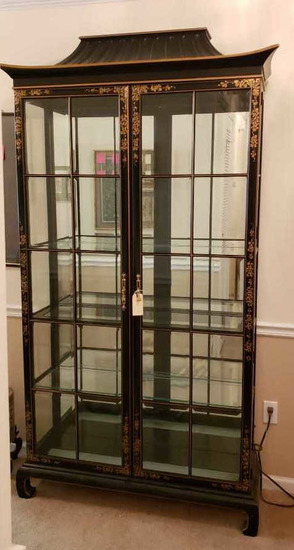 Asian-Style Lighted Glass Front Curio