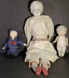 (3) Bisque Dolls: 4 1/2