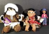 (3) Dolls: Stuffed Eskimo Doll; Native American