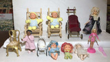 Assorted Baby Dolls & Doll Furniture