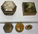 (5) Trinket Boxes: Musical Chokin Art Box, Etc