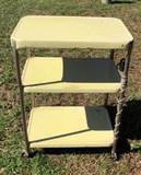 Vintage Tin and Chrome Three Shelf Serving Cart