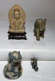 (4) Figurines: Pewter, Alabaster, Etc