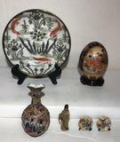 Assorted Oriental Decorative Items: Vase, Egg,