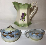 Green and Ivory Porcelain Pitcher