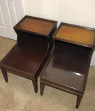 (2) Mahogany Step End Tables w/ Tooled Leather Top - Mid 20th Century - 17