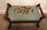Vintage Wooden Foot Stool with Needlepoint Top--