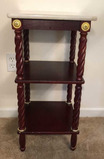 Marble Top Stand Barley Twist Legs, Brass Accents,