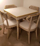 Game Table & (4) Cain Back Chairs