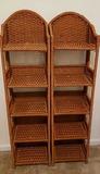 (2) Foldable 5-Shelf Wicker Shelves