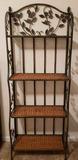 4-Shelf Folding Metal & Wicker Book Shelf