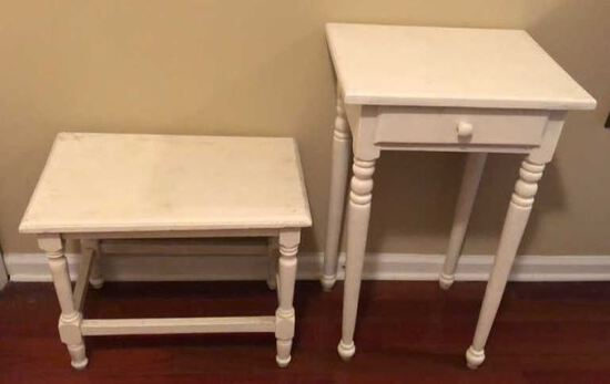 (2) Vintage White Painted Furniture Items:  One-