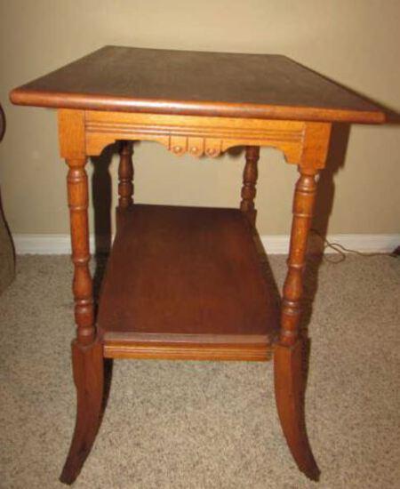 Vintage Table with Turned Legs & Incised