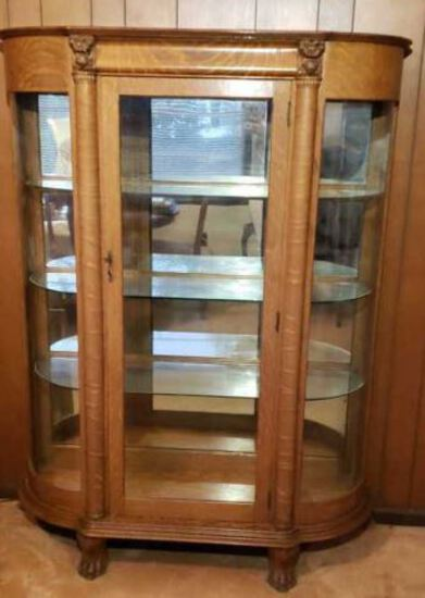Tiger Oak Curved Front China Cabinet with Carved