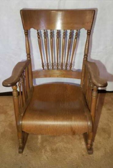 Antique Oak Turned Spindle Back Rocking Chair with