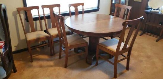 Oak Pedestal Dining Table & (6) Dining Chairs--