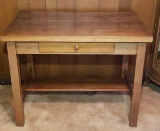 "Oak One-Drawer Table--40"" x 29"" x 30"""