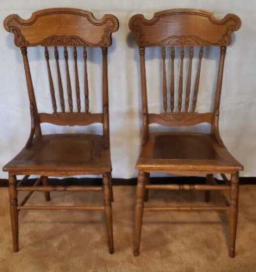 (2) Antique Oak Spindle-Back Chairs, Turned Legs--