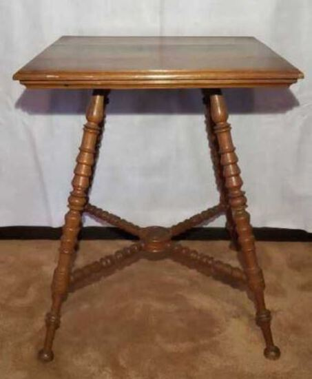 Antique Oak Parlor Table with Turned Legs--