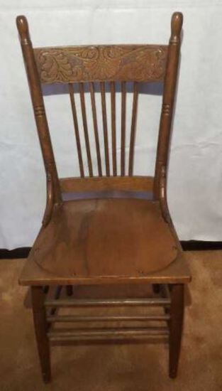 Vintage Pressed Back Chair with Repaired Seat