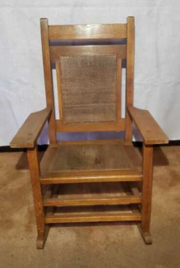 Vintage Craftsman-Style Rocking Chair with Cane