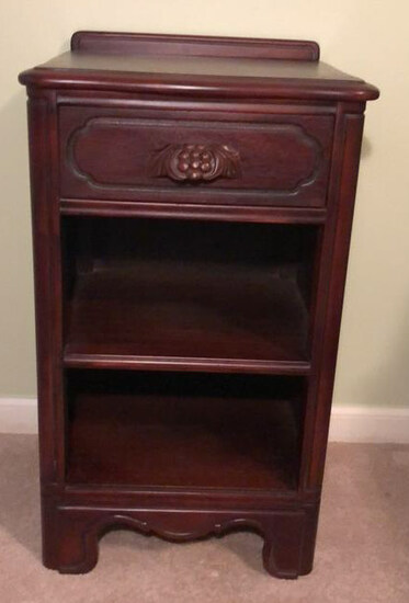 """Vintage Mahogany Nightstand with Carved """"Grape"""""""