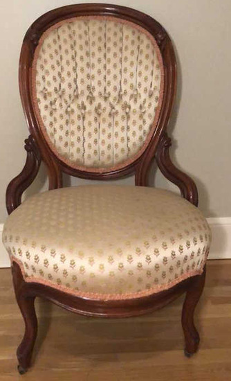 Carved Victorian Chair with Tufted Back on