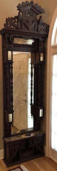 Hand-Carved Black Forest Pier Mirror with Beveled