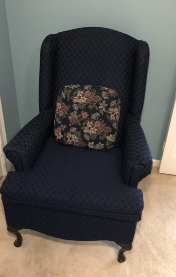 Queen Anne-Style Wing Chair--Mataches Lot 28