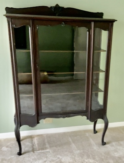 Antique Glass Front China Cabinet with Cabriole