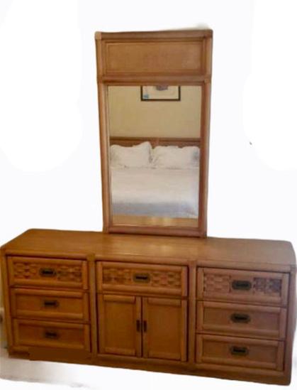 Triple Dresser w/Cain Inserts & Mirror