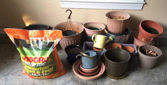 Assorted Flower Pots and Vigorous Weed and Feed