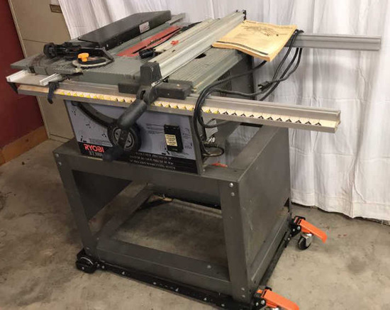 "Ryobi BT 3000, 10""  Table Saw on Rolling Stand"