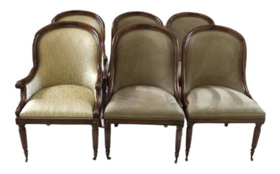 (6) Dining Chairs:  (2) Club Arm Chairs & (4)