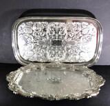 (2) Oneida Rectangular Silver Plate Trays:15 1/8