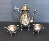 Towle Silver Plate Coffee Pot, Creamer & Open