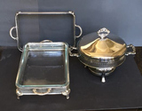 (3) Silver Plate Items:  Round 2-Handle Covered