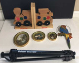 Assorted Wooden Knick Knacks and Tripod