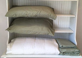 Queen Sized Set of Bamboo Sheets and White Blanket